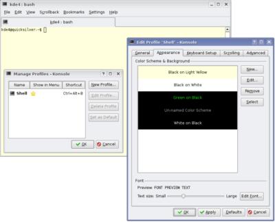 Konsole's appearance configuration, KDE version 4.0