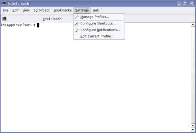 Konsole's settings menu, KDE version 4.0
