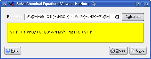 Kalzium Equation Solver in KDE 4x devel